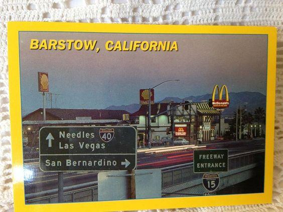 Roadside America Postcard Barstow, California Las Vegas, McDonald's, Shell Gas