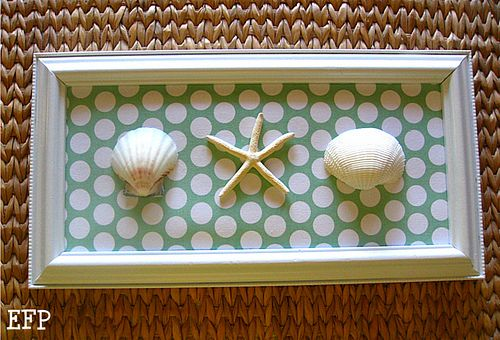 One more DYI seashell wall art idea - master bath - literally perfect colors