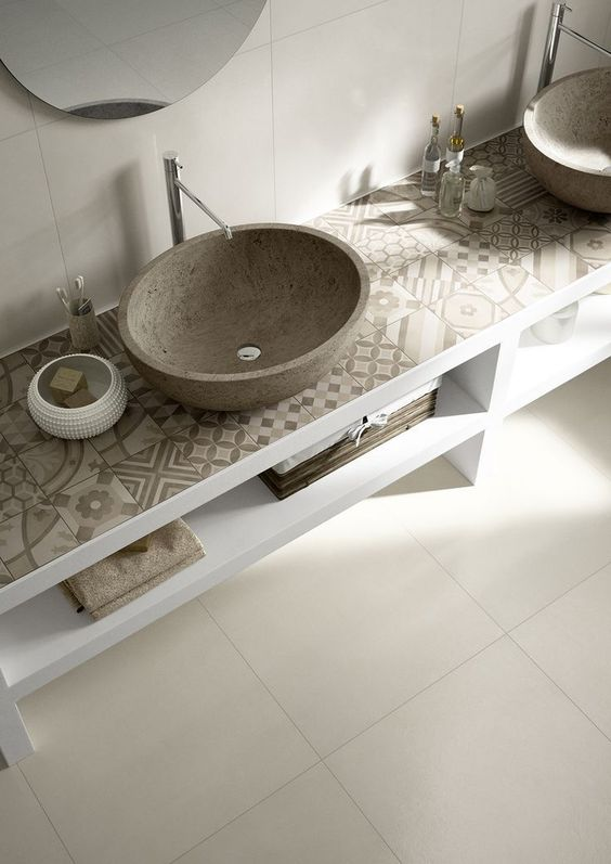 A modern bathroom with earth tones!