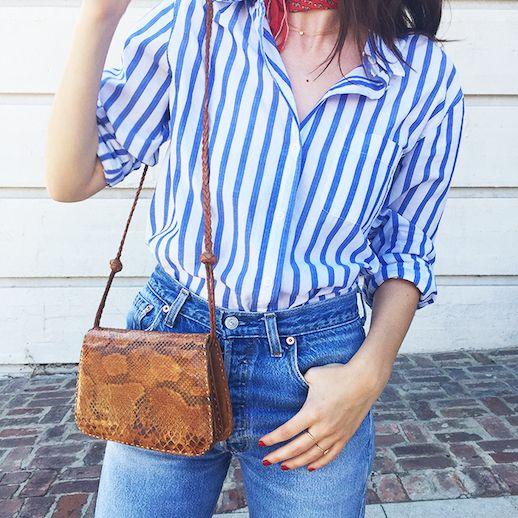 Le Fashion Blog 25 Ways To Wear A Striped Button Down Shirt Python Crossbody Bag Alina Gonzalez Via The Hyperbalist Tucked In