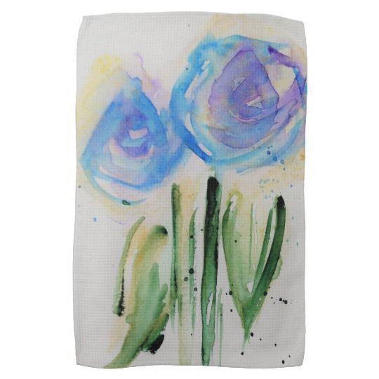 Watercolor Blue Floral Tea Towel Blue Flowers Diy Candles Easy