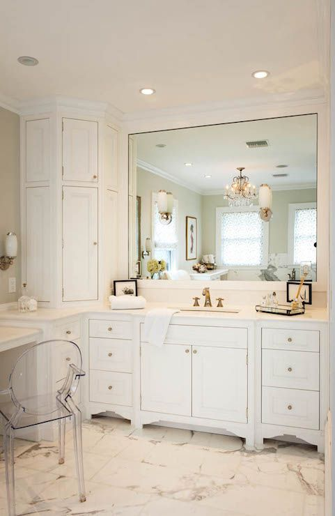 Stunning Bathroom With Wraparound Corner Vanity Featuring A Built In Dressing Table To The L Custom Bathroom Cabinets Custom Bathroom Vanity Bathroom Cabinetry