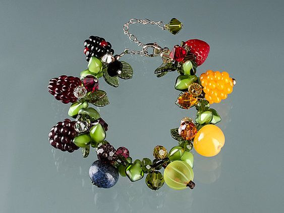 Rainbow Berry Bracelet with Glass Blackberry, Blueberry, Raspberry, Gooseberry and Cherry.  A wonderful gift for a Foodie or Gardener.  $500.  By Elizabeth Johnson.  READY TO SHIP!: