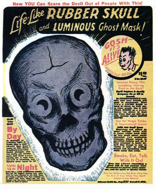 Life-Like Rubber Skull and Luminous Ghost Mask!