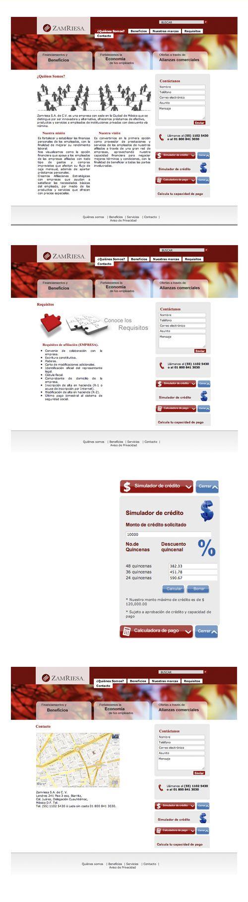 Diseño web para Zamriesa, donde se desarrolló un simulador de crédito y una calculadora de pago