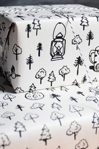 Camping Gift Wrap with Hand-Drawn Boho Camp Scene