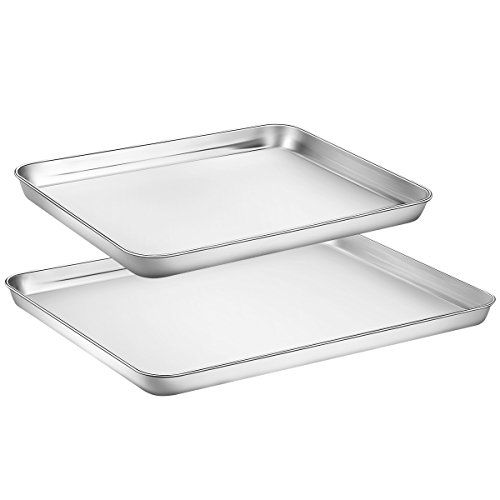Best Price Baking Sheet Set Of 2 Zacfton Cookie Sheet Set Baking Pan 2 Pieces Stainless Steel Rectangle Size Non Toxic Easy Cleaning Baking Pans Cleaning