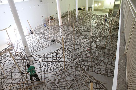 Henrique Oliveira's wooden installation, 'Transarquitetonica' at the Museum de Arte in Sao Paulo.