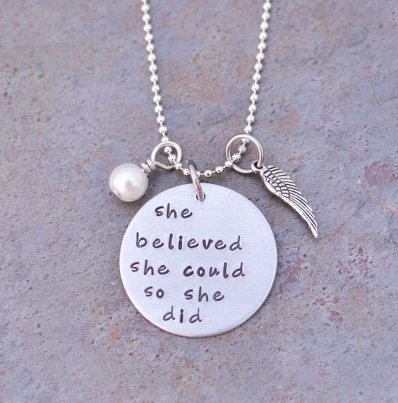 She believed she could so she didhand stamped necklace