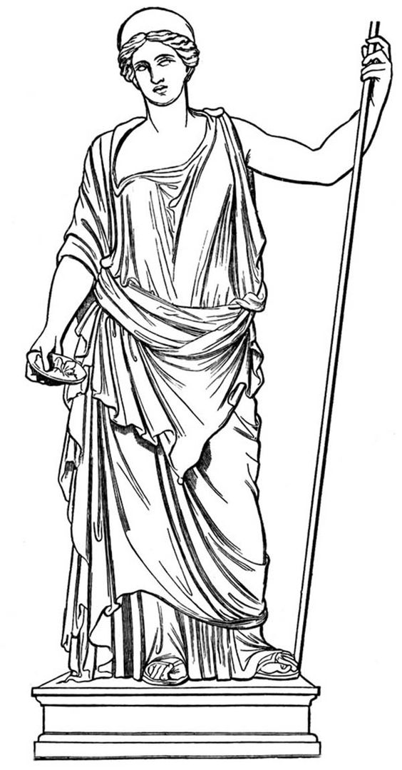 greek mythology    a statue of hera the queen goddess of greek mythology coloring page