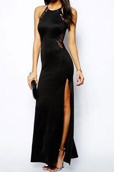 73% OFF Lace Splicing Maxi Evening M Dress