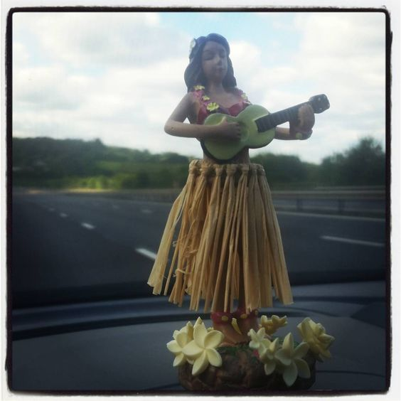 """Love our new car air freshner! She dances...  #hawaiianlady #tiki"""