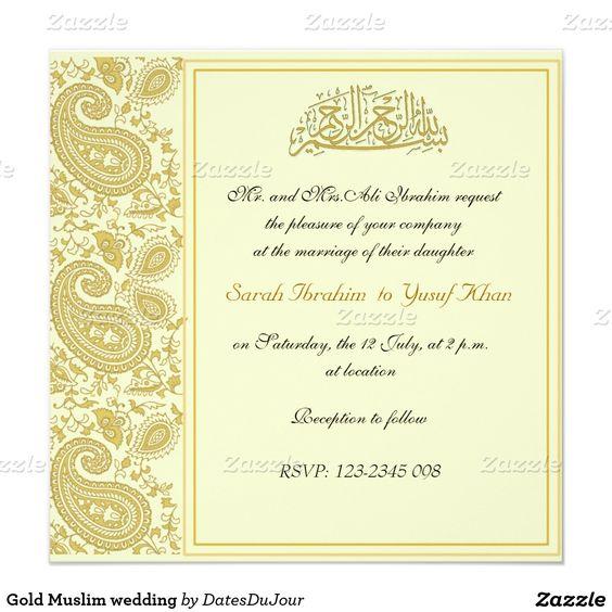 Gold Muslim Wedding Square Paper Invitation Card Wedding Pinter