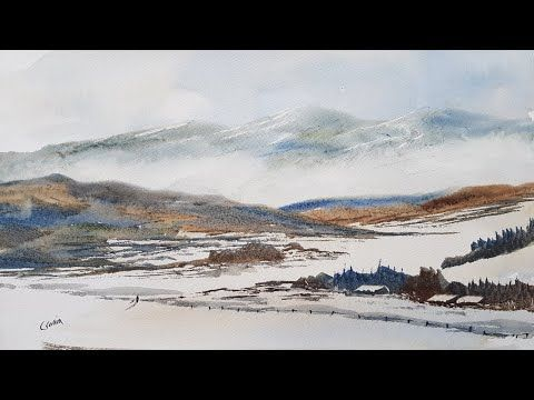 How To Paint A Simple Mountain Landscape Youtube In 2020 Landscape Paintings Mountain Landscape Watercolor Mountains