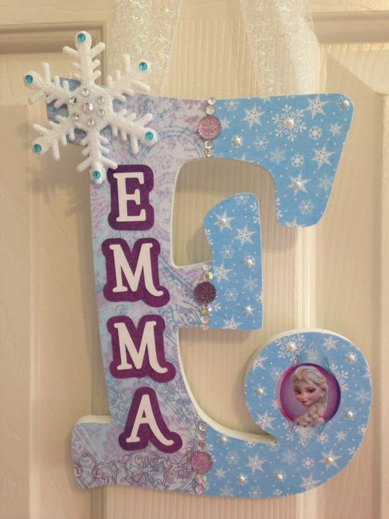 Personalized Hanging Letter-Frozen inspired! Custom Nursery Letter/Hanging Letter/Girls Name/Childrens Room Decor/Decorated Wooden Letter