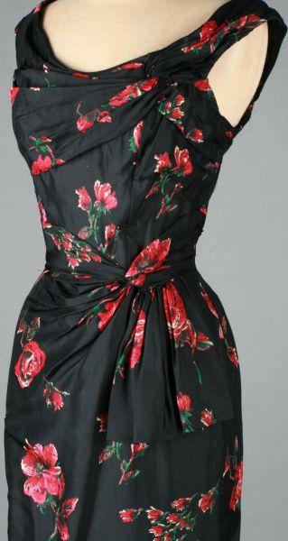 Ceil Chapman - Robe de Cocktail - Soie Noir et Fleurs - Années 50