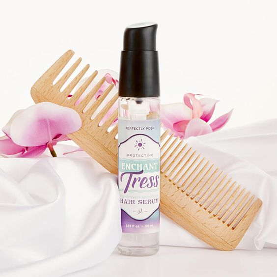 POSH ENCHANT TRESS       PROTECTIVE HAIR SERUM Go from sea witch to siren with this enchanting blend of fortifying oils that tame frizz, restore shine, and protect hair from heat styling and environmental damage. GET IT TODAY @ https://pennyposs.po.sh/enchant-tress