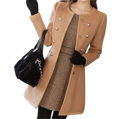 camel Women Wool coat/womens clothing/Double-breasted coat