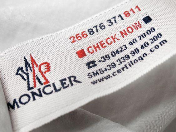 Moncler Certilog Sicherheitsetikett