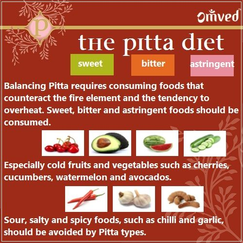 ayurveda dosha and food 2018-7-8 pitta dosha governs metabolism and all things heat related recognize pitta in balance and out, plus products and lifestyle suggestions to balance pitta.