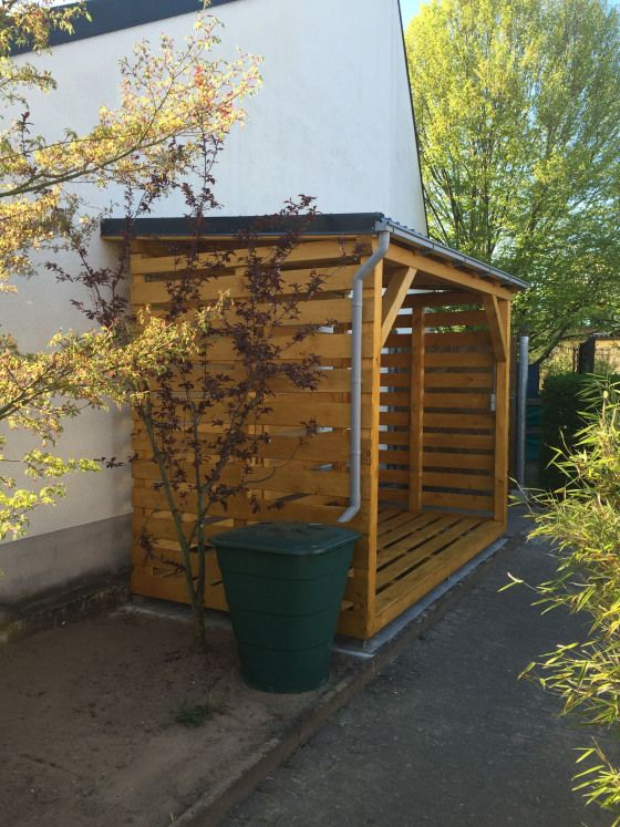 Holzunterstand Fertig Mit Regentonne Holzlager Fur Ca 10 Srm Pin 4 5 Outdoorwood Ponds Backyard Garden Storage Outdoor Wood