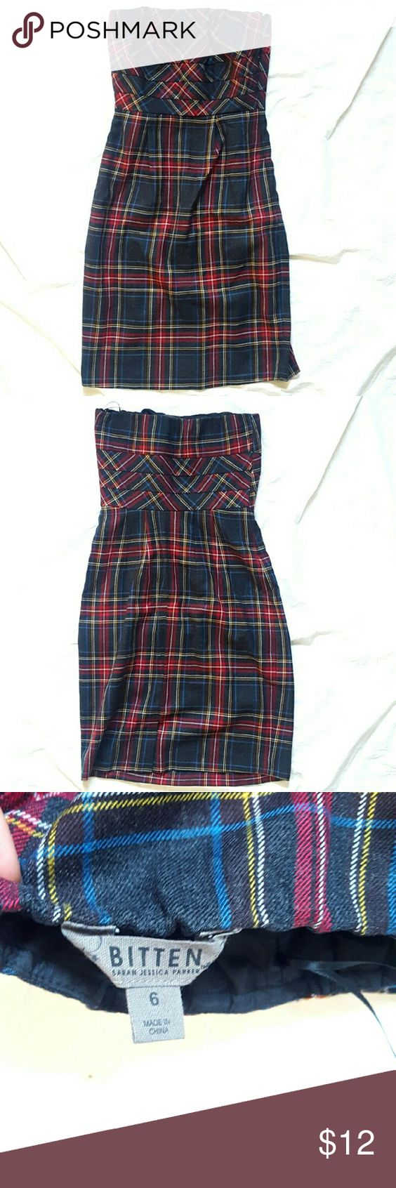 """Plaid Strapless Dress Plaid Strapless Dress (Bitten by Sarah Jessica Parker) Excellent used condition, no signs of wear. Size 6   Measurements  Chest 15"""" Waist 13.5 Full length 31"""" Bitten Dresses Strapless"""