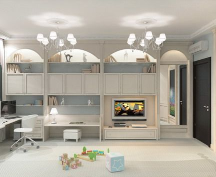 Corner study table and cool tv units with cabinet for Cool playroom designs