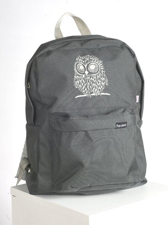 Owl on American Apparel Backpack Smoke/Silver by miasunique, $40.00
