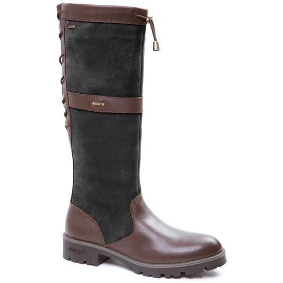 Dubarry Glanmire Lace Long Boots, Black/Brown (28.075 RUB) ❤ liked on Polyvore featuring shoes, boots, black knee high boots, black waterproof boots, lace up boots, knee-high lace-up boots and brown lace-up boots