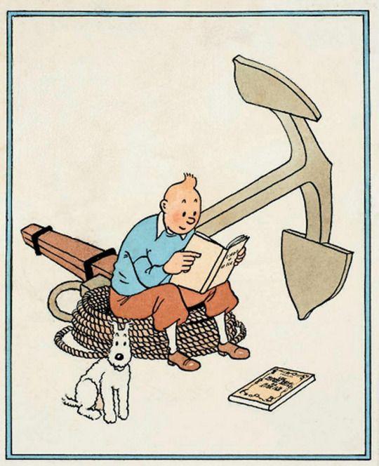 ロープの上に腰掛けて本を読むタンタンの画像
