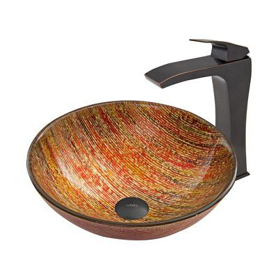 Pazo Blazing Fire Glass Vessel Sink and Blackstonian Faucet Set