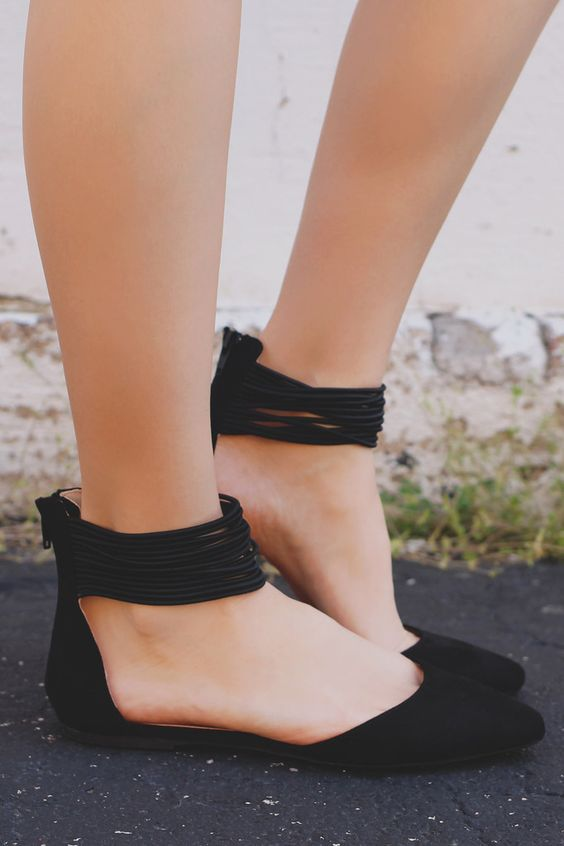 Black Strappy Ankle Pointed Toe Flats Pippa-152