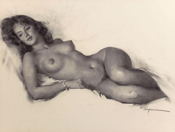 GIL ELVGREN (American, 1914-1980). Reclining Nude.: