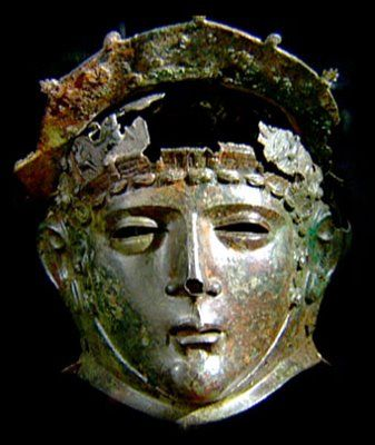 Roman full-faced helmet discovered at Ribchester (now on display at the British Museum)