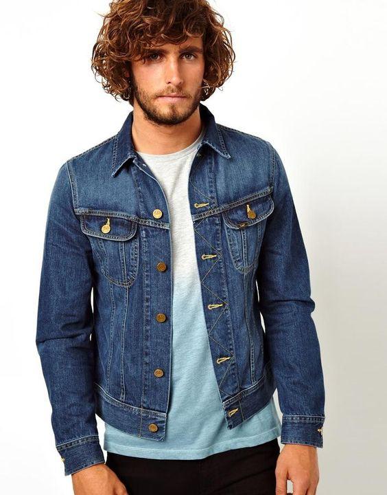 Denim Jacket Rider Slim Fit Epic Blue | ASOS Blue denim and Shops