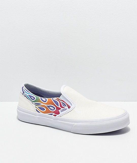 Vans Slip-On Sparkle Flame Rainbow