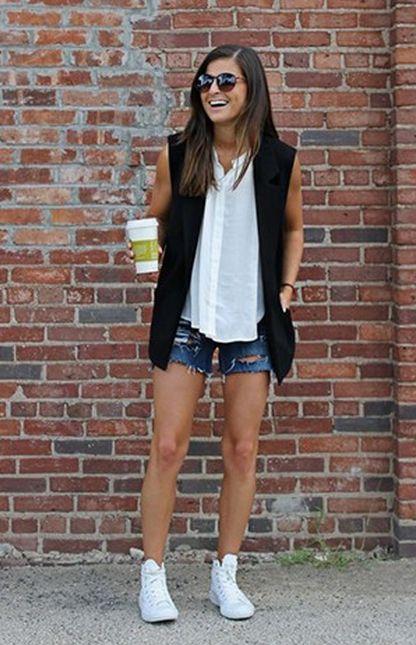 Jean Shorts, White Button Up, Black Vest