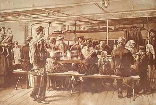 Steerage dining room of an ocean liner in the late 19th century.