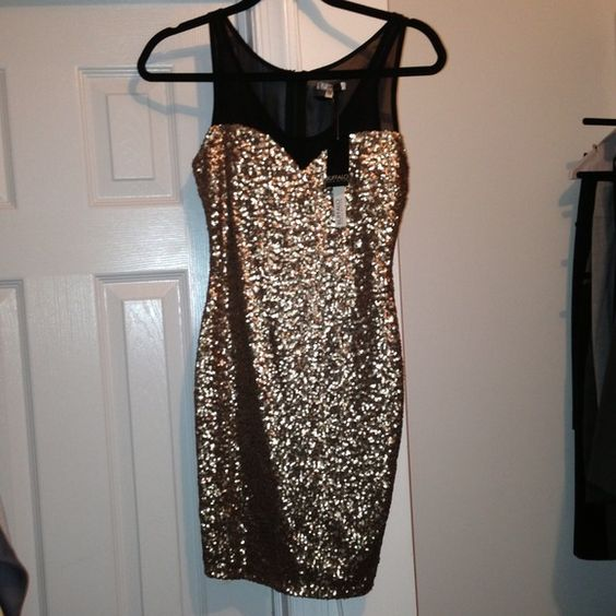 ‼️H/P 10/10/14‼️ Buffalo  gold sequin dress Buffalo David Bitton gold sequin and black cocktail dress. Brand new with tags. Buffalo David Bitton Dresses