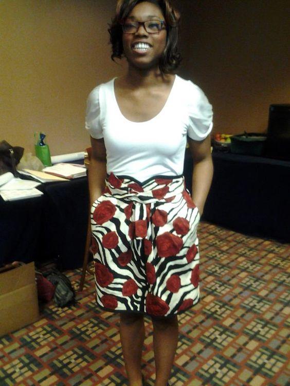Rose print skirt I made for daughter.