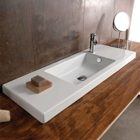 Rectangular White Ceramic Sink by Tecla