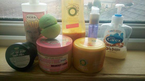Bathroom favourites, soap and glory, lush, herbal essences, carex, john frieda