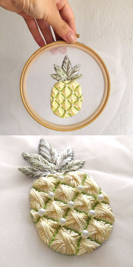 Pineapple Embroidery Pattern | How to embroidery on tulle tutorial