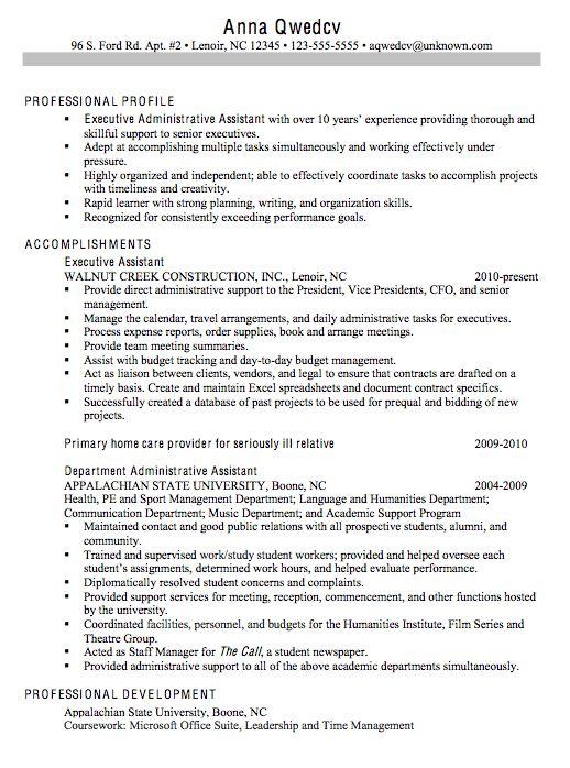 chronological sample resume executive administrative assistant resume examples executive assistant