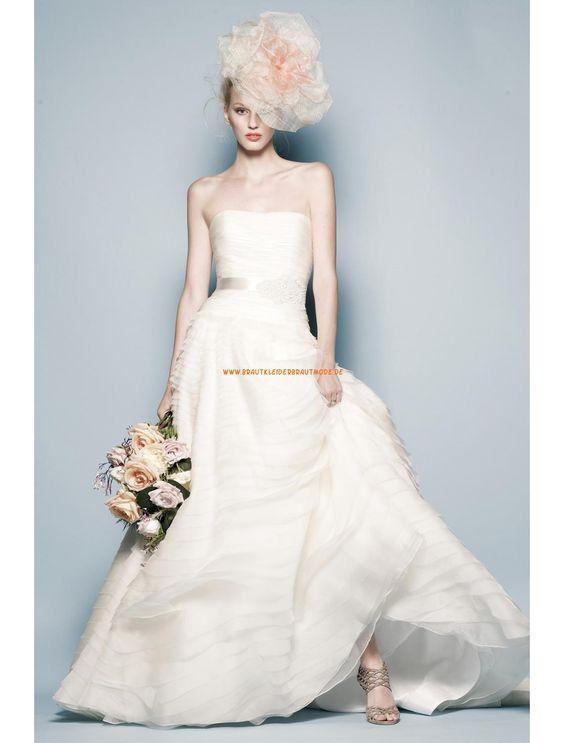 Watters Schlichte Moderne Designe Brautkleider aus Organza mit Schleppe