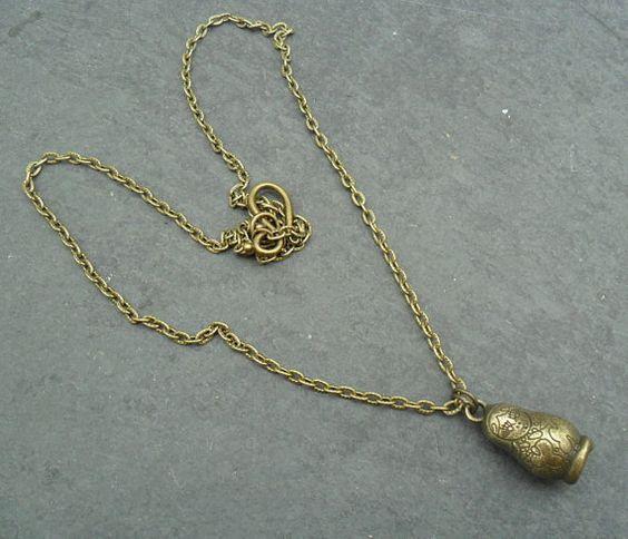 Bronze Matryoshka Doll Necklace