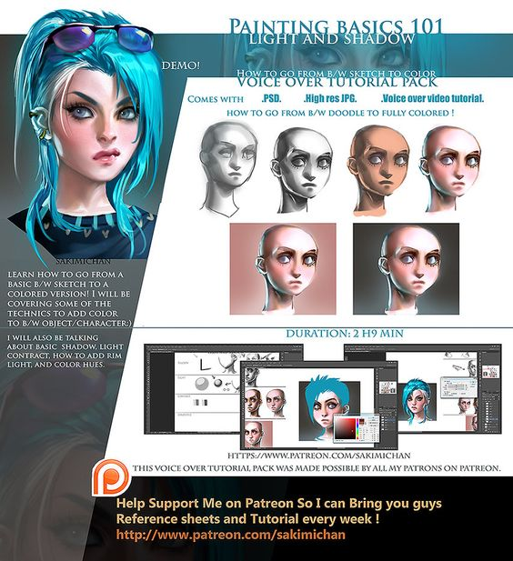 Light / shadow Painting 101 voice over tutorial by sakimichan on DeviantArt