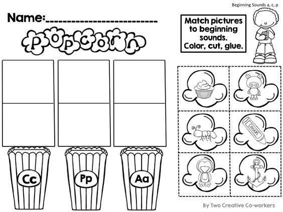 Beginning Sounds - Cut & Glue worksheets {Popcorn Themed ...