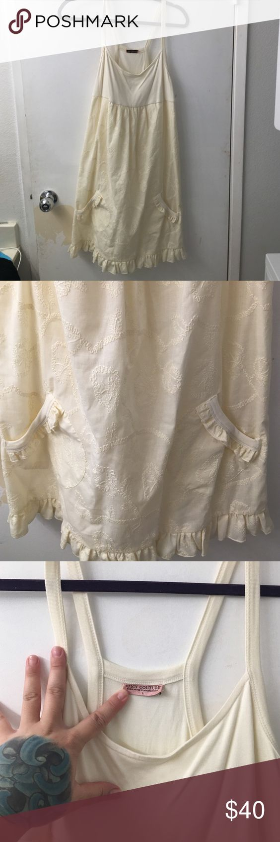 Large cream embroidered Juicy Couture Dress Worn once Large Juicy Couture cream embroidered dress Juicy Couture Dresses Midi