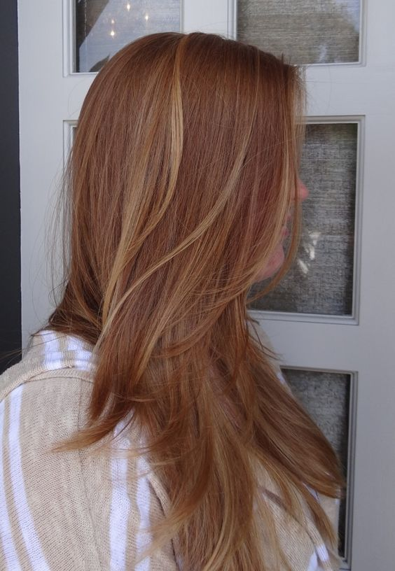 Strawberry blonde with highlights.